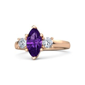 Marquise Amethyst 14K Rose Gold Ring with Diamond