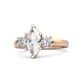 Marquise Rock Crystal 14K Rose Gold Ring with Diamond