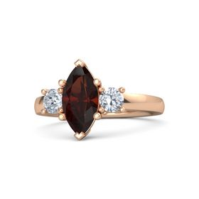 Marquise Red Garnet 14K Rose Gold Ring with Diamond