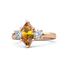 Marquise Citrine 14K Rose Gold Ring with Diamond