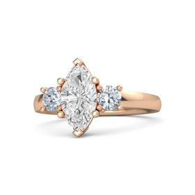 Marquise White Sapphire 14K Rose Gold Ring with Diamond