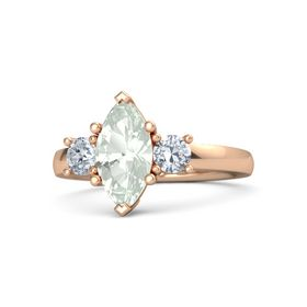 Marquise Green Amethyst 14K Rose Gold Ring with Diamond