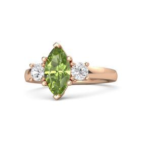 Marquise Peridot 14K Rose Gold Ring with White Sapphire