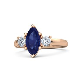 Marquise Sapphire 14K Rose Gold Ring with Diamond