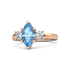 Marquise Blue Topaz 14K Rose Gold Ring with Diamond