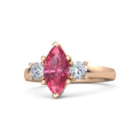 Marquise Pink Tourmaline 14K Rose Gold Ring with Diamond