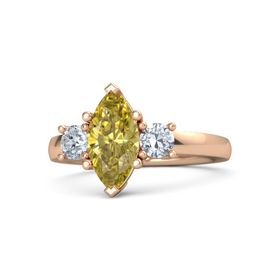 Marquise Yellow Sapphire 14K Rose Gold Ring with Diamond