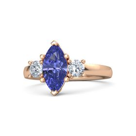 Marquise Tanzanite 14K Rose Gold Ring with Diamond