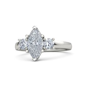 Marquise Diamond 14K White Gold Ring with Diamond