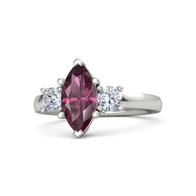 Marquise Rhodolite Garnet 14K White Gold Ring with Diamond