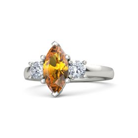 Marquise Citrine 14K White Gold Ring with Diamond
