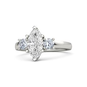 Marquise White Sapphire 14K White Gold Ring with Diamond