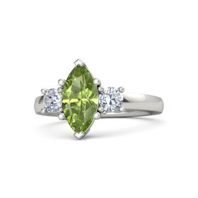 Marquise Peridot 14K White Gold Ring with Diamond