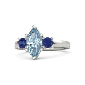 Marquise Aquamarine 14K White Gold Ring with Blue Sapphire