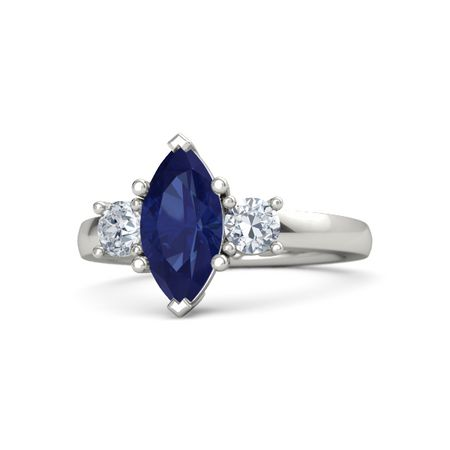 Blue Sapphire And Diamond Ring Combination