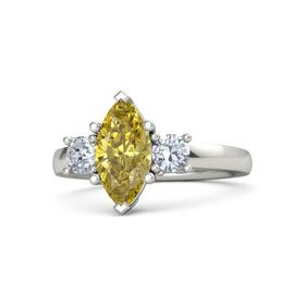 Marquise Yellow Sapphire 14K White Gold Ring with Diamond