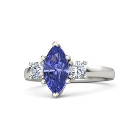 Marquise Tanzanite 14K White Gold Ring with Diamond