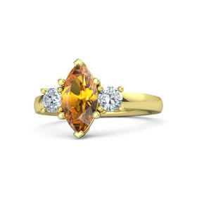 Marquise Citrine 14K Yellow Gold Ring with Diamond