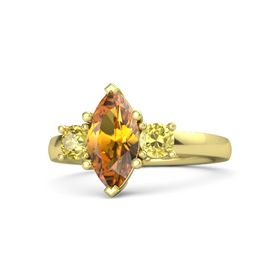 Marquise Citrine 14K Yellow Gold Ring with Yellow Sapphire