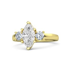 Marquise White Sapphire 14K Yellow Gold Ring with Diamond