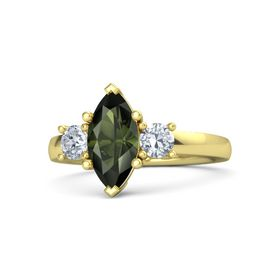 Marquise Green Tourmaline 14K Yellow Gold Ring with Diamond