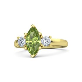 Marquise Peridot 14K Yellow Gold Ring with Diamond