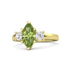 Marquise Peridot 14K Yellow Gold Ring with White Sapphire