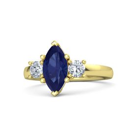Marquise Sapphire 14K Yellow Gold Ring with Diamond