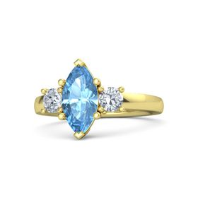 Marquise Blue Topaz 14K Yellow Gold Ring with Diamond