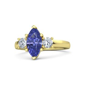Marquise Tanzanite 14K Yellow Gold Ring with Diamond