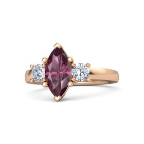 Marquise Rhodolite Garnet 18K Rose Gold Ring with Diamond