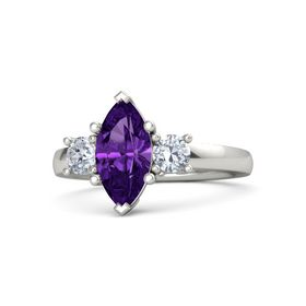 Marquise Amethyst 18K White Gold Ring with Diamond