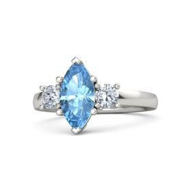 Marquise Blue Topaz 18K White Gold Ring with Diamond