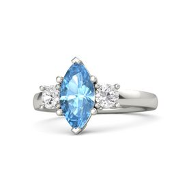 Marquise Blue Topaz 18K White Gold Ring with White Sapphire