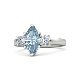 Marquise Aquamarine Palladium Ring with Diamond