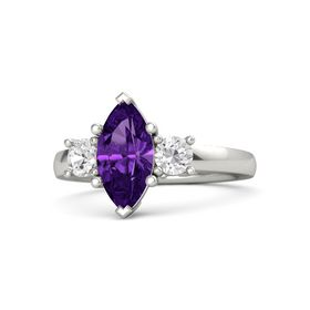 Marquise Amethyst Platinum Ring with White Sapphire