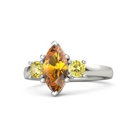 Marquise Citrine Platinum Ring with Yellow Sapphire