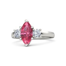 Marquise Pink Tourmaline Platinum Ring with Diamond