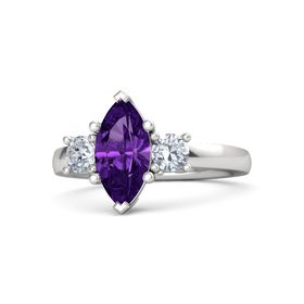 Marquise Amethyst Sterling Silver Ring with Diamond