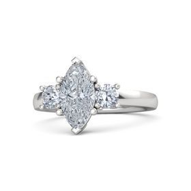 Marquise Diamond Sterling Silver Ring with Diamond