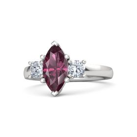 Marquise Rhodolite Garnet Sterling Silver Ring with Diamond