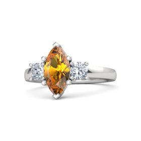 Marquise Citrine Sterling Silver Ring with Diamond