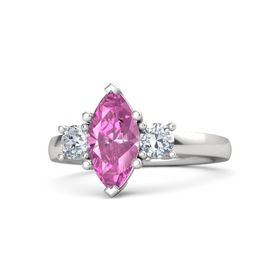 Marquise Pink Sapphire Sterling Silver Ring with Diamond