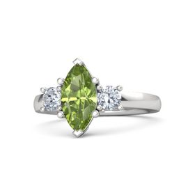 Marquise Peridot Sterling Silver Ring with Diamond