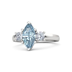 Marquise Aquamarine Sterling Silver Ring with Diamond