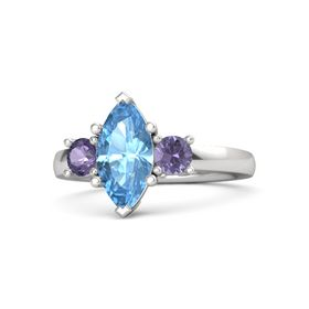 Marquise Blue Topaz Sterling Silver Ring with Iolite