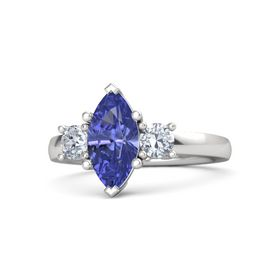 Marquise Tanzanite Sterling Silver Ring with Diamond