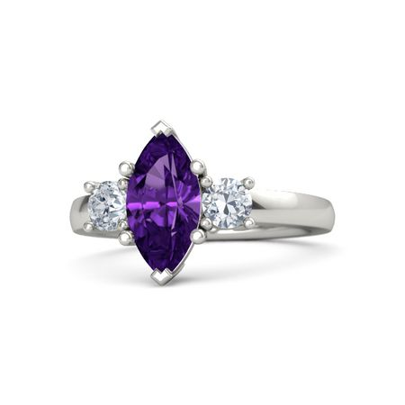 Marquise Amethyst 14K White Gold Ring with Diamond ...
