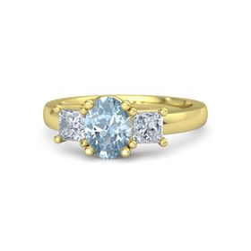 Oval Aquamarine 14K Yellow Gold Ring with Diamond