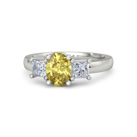 Oval Yellow Sapphire Palladium Ring with Diamond